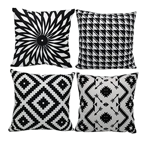 Black and White Throw Pillow, Smocked 4 Set DIY Home Decor Stylelish  Decorative Velvet Couch Accent Pillows Covers,Stripes Geometric Soft Fuzzy  Faux ...