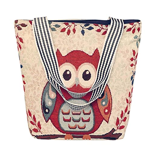 0dc05c6f17f Amazon.com  Clearance TOOPOOT Women Embroidered Owl Top Canvas Tote Bag  School Work Travel and Shopping  Shoes