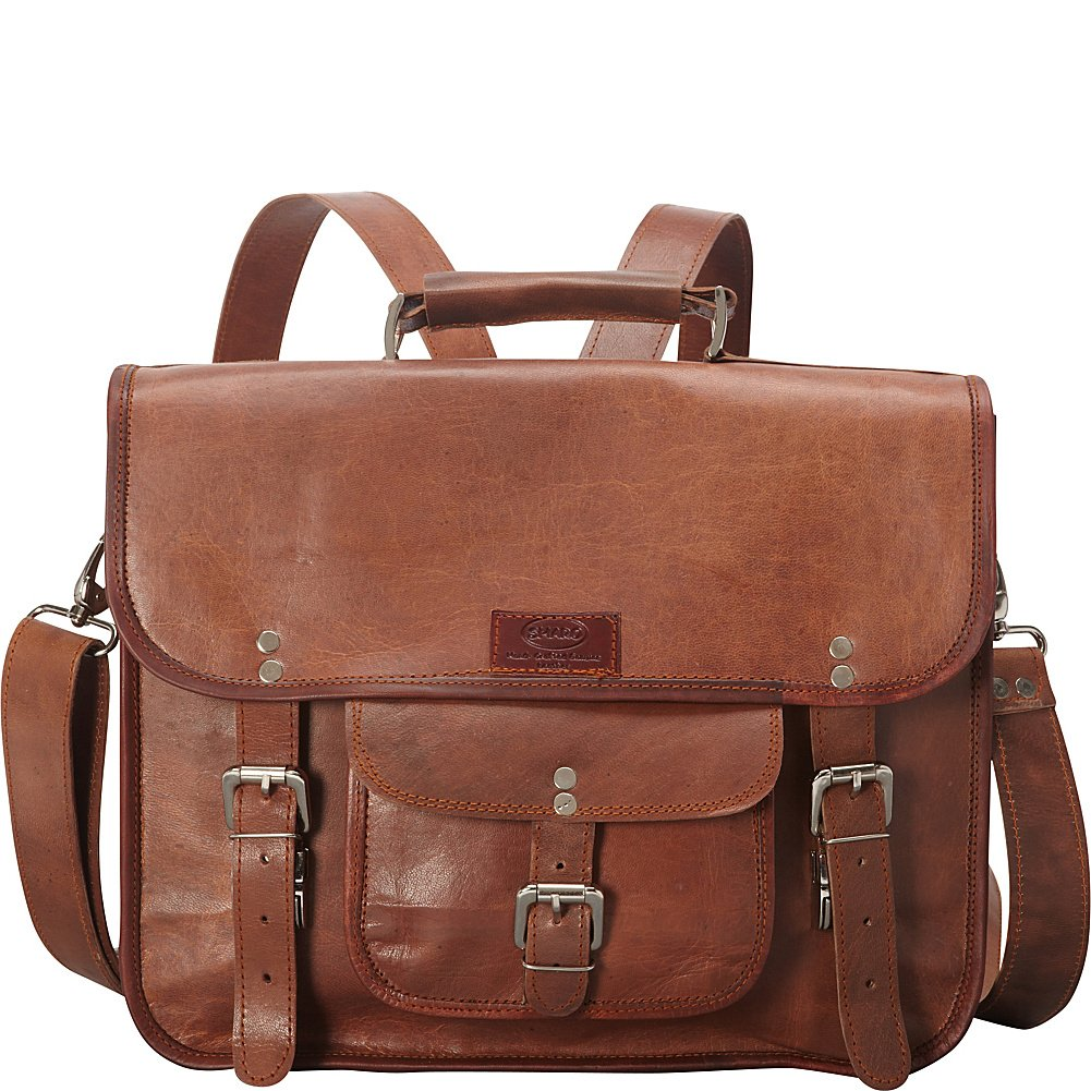 Brown Sharo Leather Bags Wide Three-in-One Backpack//Brief//Messenger