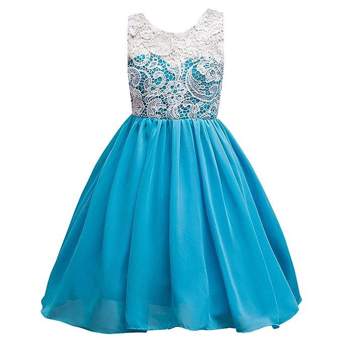 LSERVER-Vestido de Encaje con Flores Ropa de Boda Fresco Verano Para Niñas Azul 3