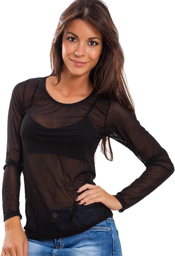 T-Shirt Maglia Nera Donna Traforata in Rete Shirt Top a Maniche Lunghe S M L XL