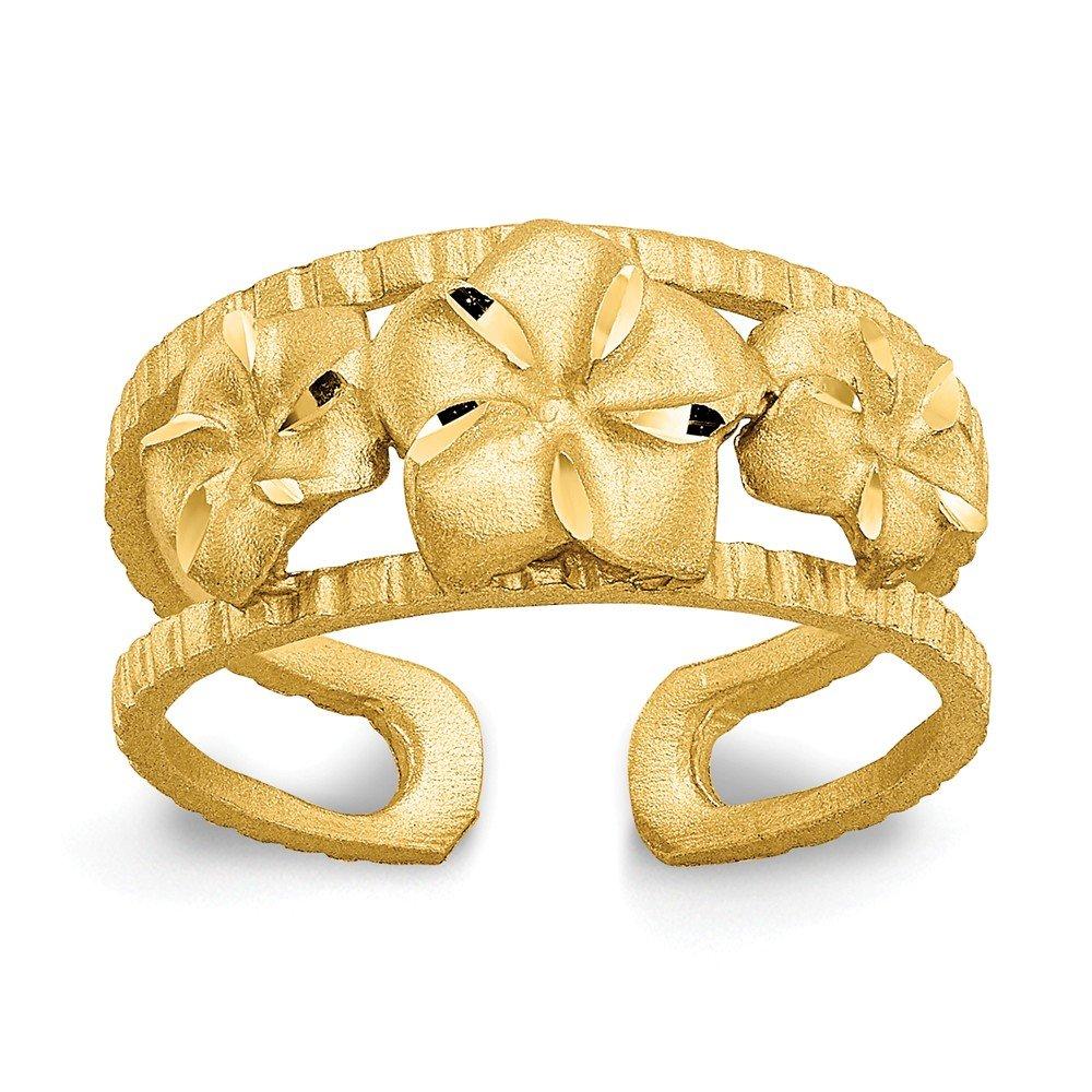 Diamond Cut Plumeria Toe Ring ZenJewels 37C206419 14K Yellow Gold Toe Jewelry Rings Solid 3 to 8 mm tapered