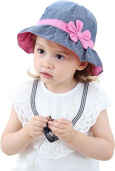 Girls Children Kids Baby Cotton Polka Dots Bow Ribbon Sun Summer Hat Cap G