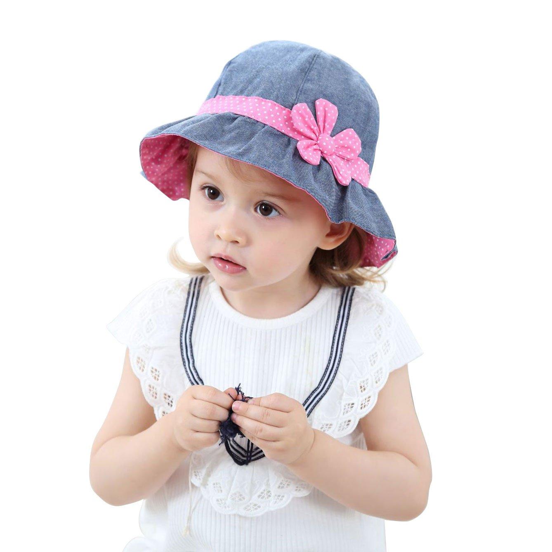 Toddler Baby Girls Denim Sun Hats with Chin Strap Kid Summer Cotton Sunhat Polka Dot Caps