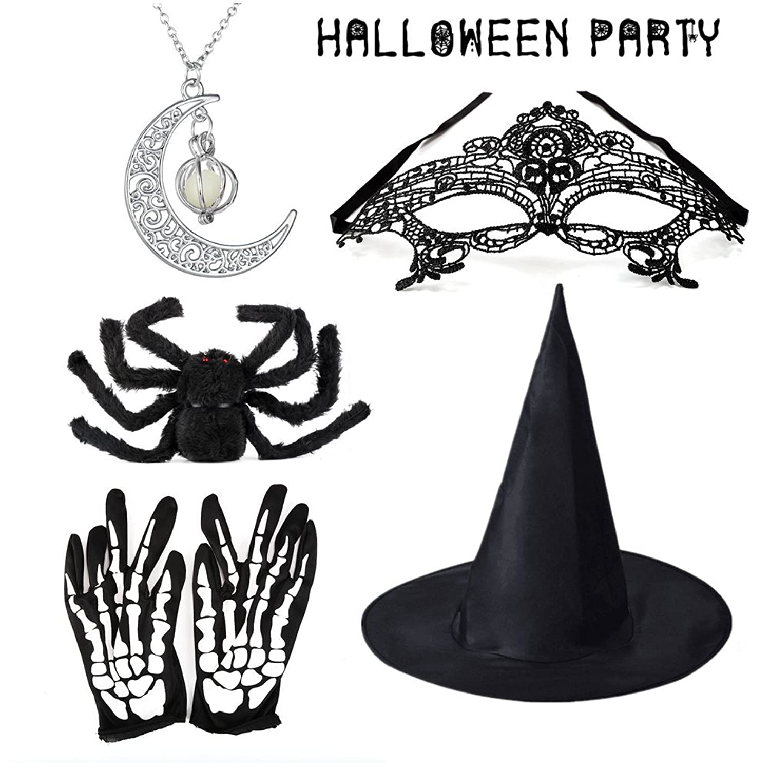 Amazoncom Halloween Prop Kits,Witch Hatglowing Necklaceblack Spidermaskskeleton Gloves Clothing