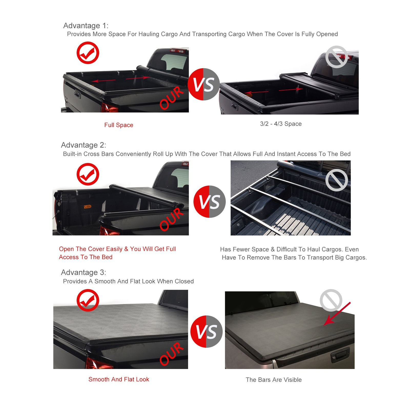 Black Soft Vinyl Roll-Up Tonneau Cover Fit 05-19 Frontier 09-12 Equator 6/' Bed