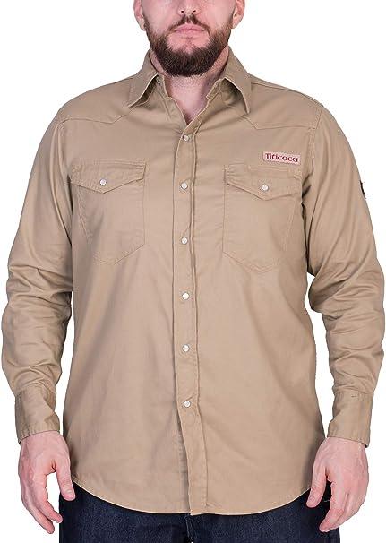 Titicaca FR Camisa de trabajo resistente al fuego, algodón de 7, 5 onzas, ligera, manga larga, color caqui - Beige - 5X-Large: Amazon.es: Ropa y accesorios