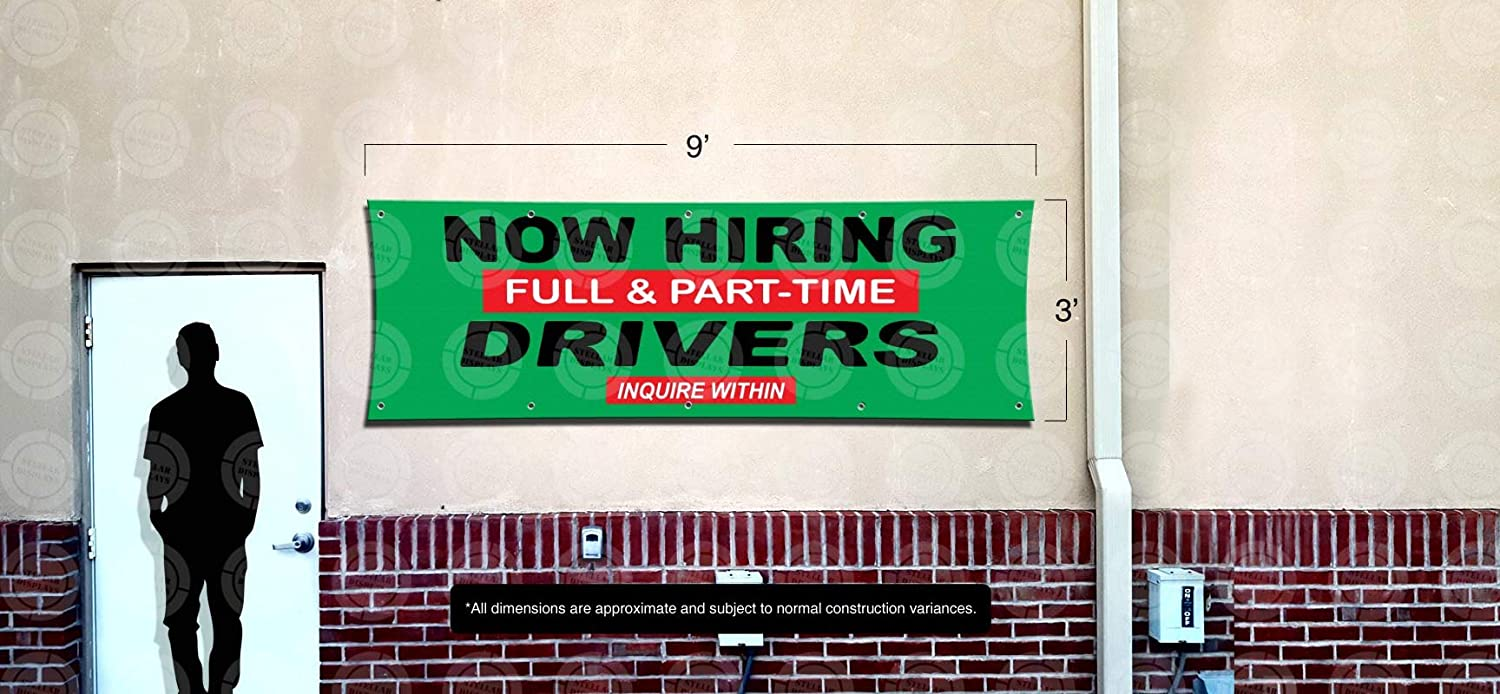 3ft X 9ft Vinyl Sign Wanted Poster Display Lona Anuncio Now Hiring Full /& Part-Time Drivers Banner
