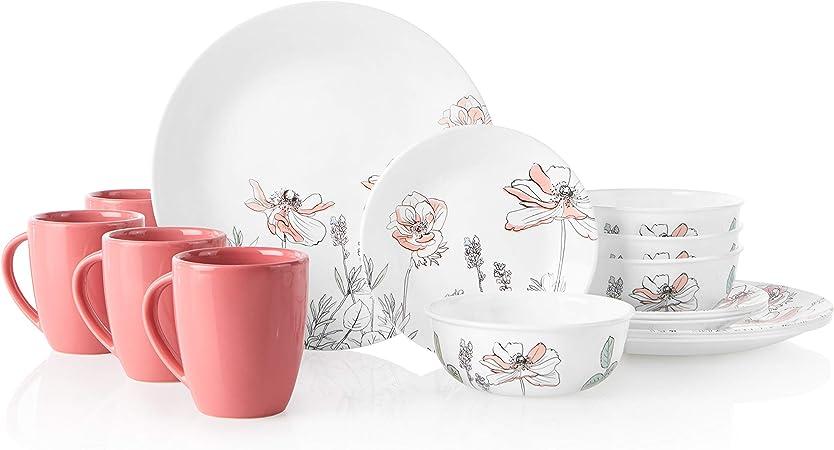 Amazon Com Corelle 16 Piece Dinnerware Set Service For 4 Chip Resistant Glass Poppy Print Dinnerware Sets