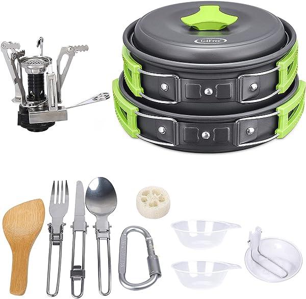 G4Free 11PCS/13PCS Camping Cookware Mess Kit
