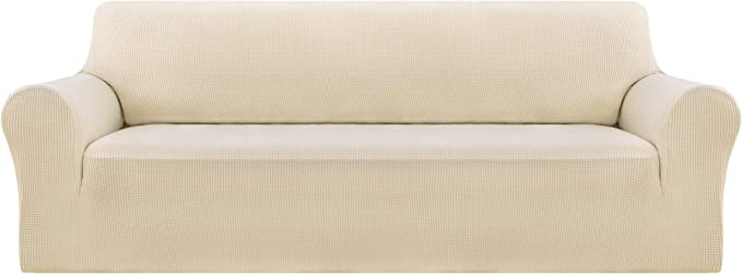 Deconovo Beige Sofa Slipcover 3 Seat Couch Cover Fitted Spandex Sofa Protector Slip Resistant Sofa Cover High Elasticity Anti-Wrinkle Solid Print Couch Slipcover for Dogs