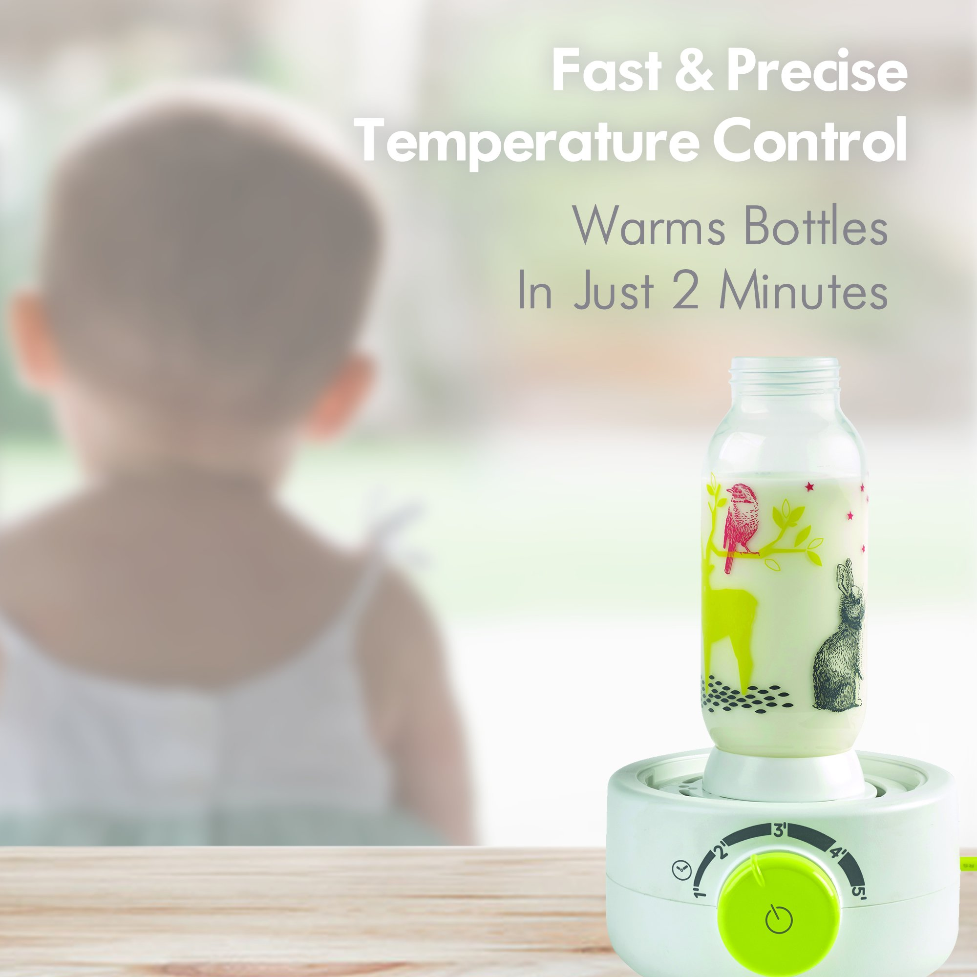 BEABA Quick Baby Bottle Warmer, Steam Sterilizer, Baby Food Heater (3-in-1) Warm Milk in Just Two Minutes, BPA and Lead Free, Simple Temperature Control, Fits All Bottle Sizes - Even Wide Neck, Neon by BEABA (Image #2)
