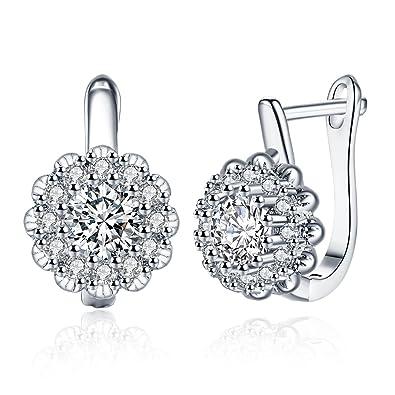 87a6bf776dd1 TPHui Women Earrings 18K Flower Earrings Cubic Zircon Crystal Jewelry for  Women  Amazon.co.uk  Jewellery