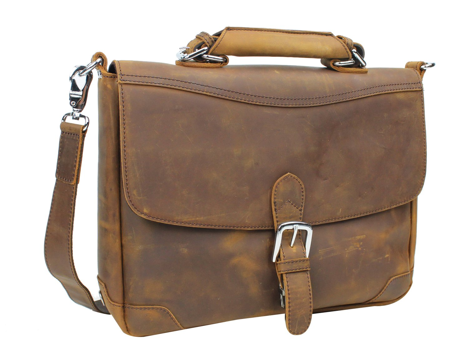 Vagabond Traveler 15'' Cowhide Fine Leather Laptop Bag L30. Vintage Brown