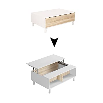 zaiken plus table basse scandinave blanc brillant et decor chene l 100 cm