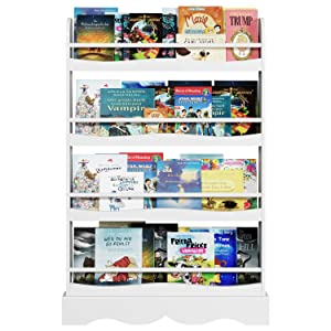 """Homfa Kids Bookshelf, 4 Tier Children's Bookcase Rack Free Standing Against The Wall, Display Storage Shelves for Books Toys in Study Living Room Bedroom, 31.5"""" L x 4.5"""" W x 46.5"""" H, White"""