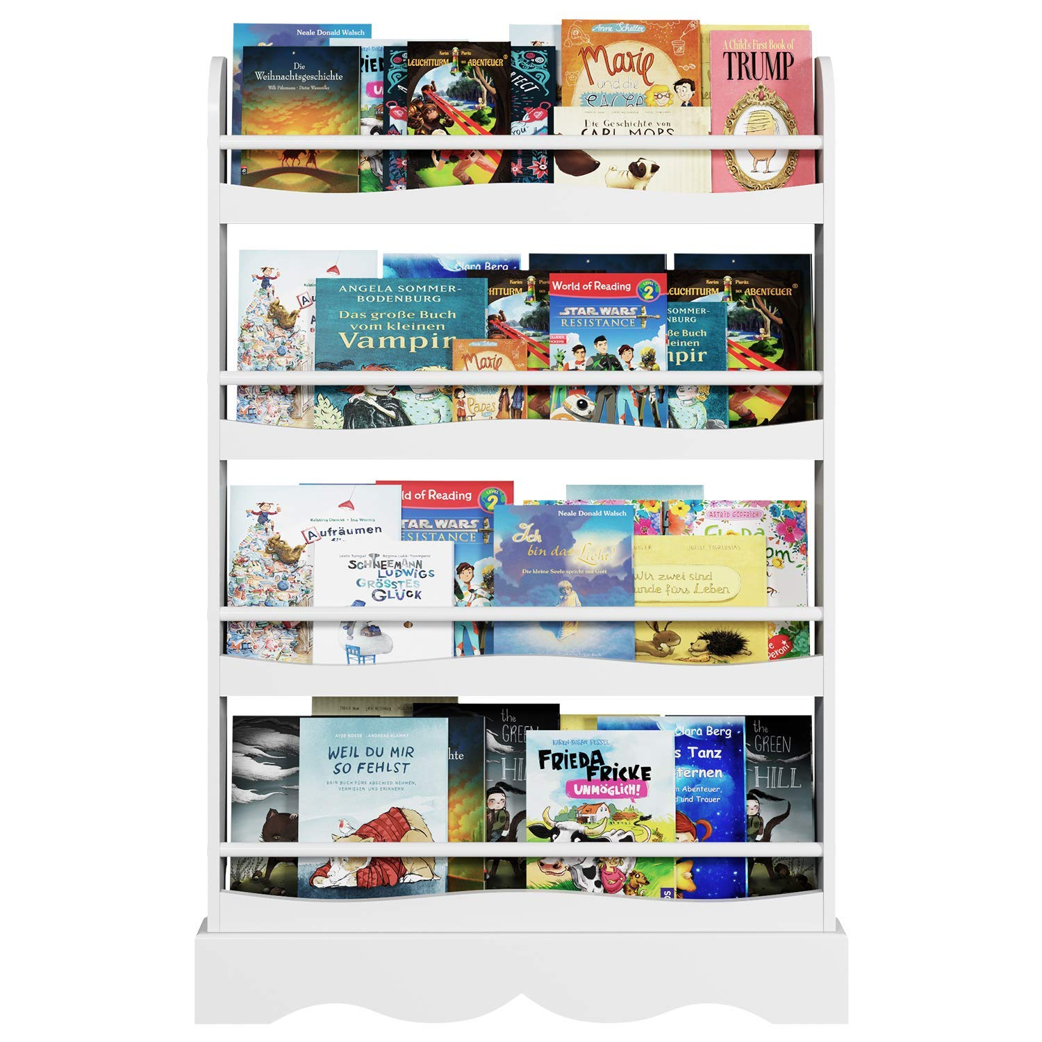 Homfa Kids Bookshelf, 4 Tier Children's Bookcase Rack Free Standing Against The Wall, Display Storage Shelves for Books Toys in Study Living Room Bedroom, 31.5'' L x 4.5'' W x 46.5'' H, White