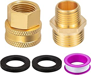 Breezliy Lead-Free Metal Brass Garden Hose Adapter, 1/2 Inch to 3/4 Inch Npt Fitting Connector,with Washers and Teflon(1 Pc Double Female and 1 Pc Double Male)