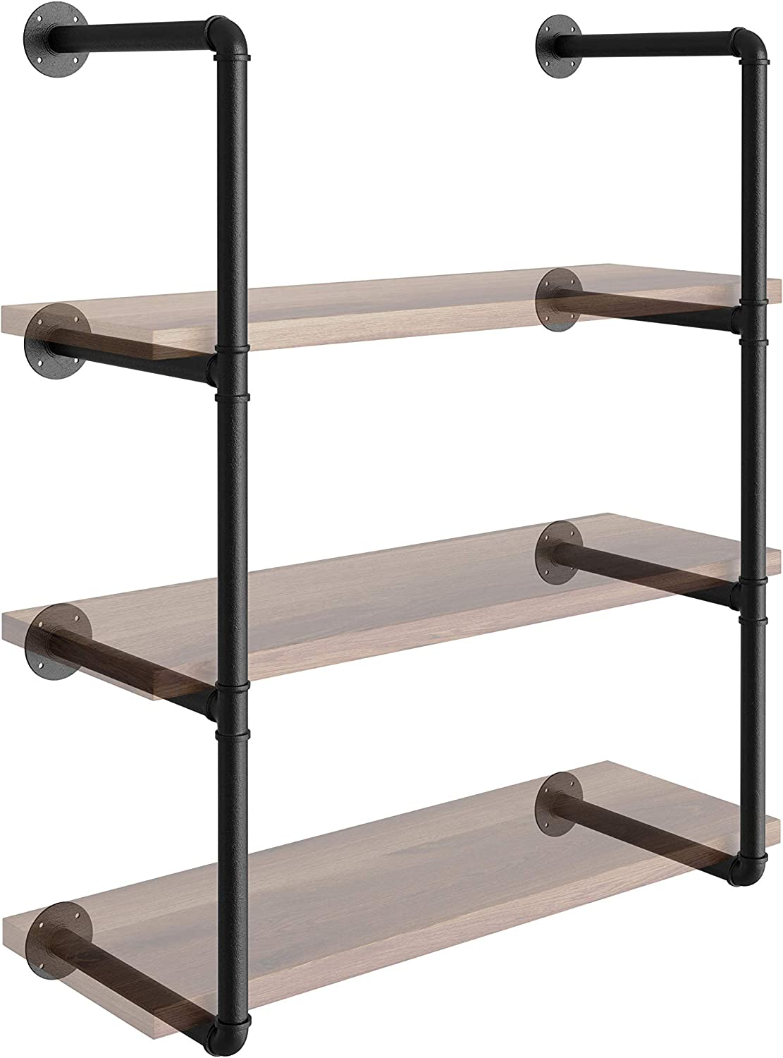 Industrial Pipe Shelving Wall Mount - 3 in 1 DIY Farmhouse Decor Pipe Shelf Brackets - Floating Shelves for Wall Vintage Room Kitchen - Black Pipe Shelves (42
