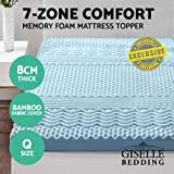 Giselle Bedding Queen Size Memory Foam Mattress Topper Mat Pad Underlay Cool Gel Bamboo Fabric Cover 8CM 7-Zone