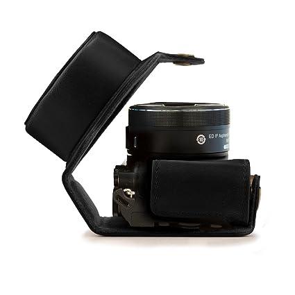 MegaGear Estuche Ever Ready, Funda de Pronto Uso de Cuero, con Correa Compatible con Nikon 1 J5 (10-30mm)