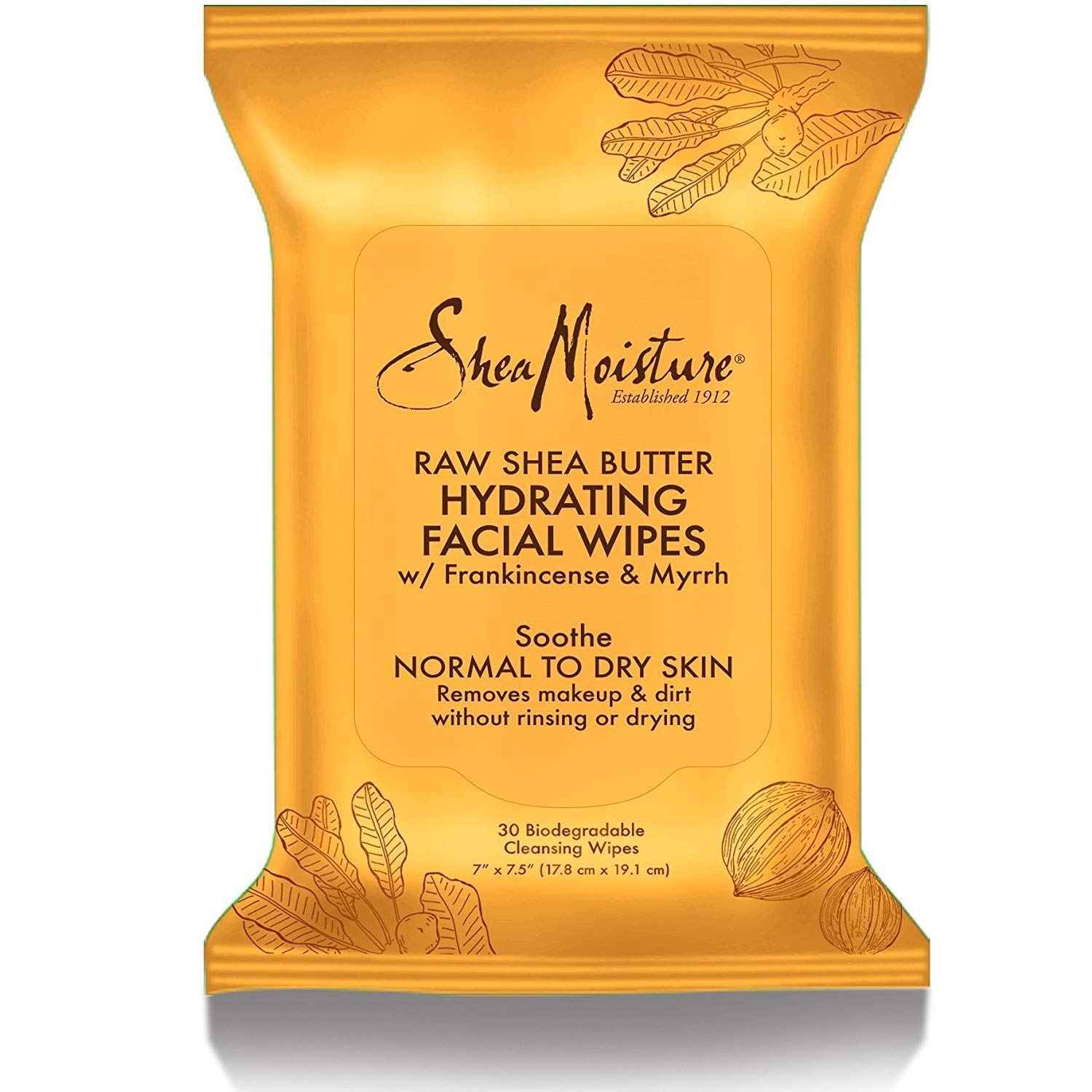 Shea Moisture Raw Shea Facial Wipes, 30 Count