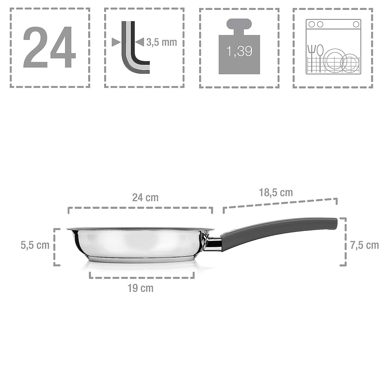 Juego de sartenes Vita 2 de Beka para inducción, 3 piezas de acero inoxidable, diámetro de las sartenes 20 cm, 24 cm, 28 cm, sartenes universales con ...