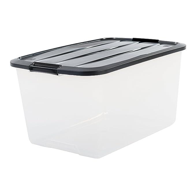 Iris - Juego de cajas con Comercio y tapa, sistema de ordenación, plástico, tapa Negra, Set de 3 (Large): Amazon.es: Hogar