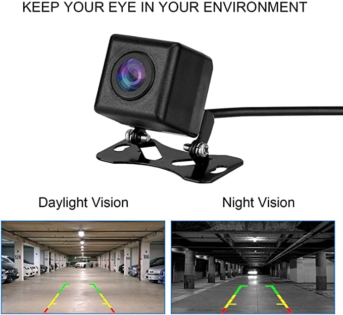 Uzone Universal Car Rear View Backup Camera with Waterproof Night Vison HD 170 Degree Wide Angle Parking Support Camera for Car RV Caravan Hitch Tow Truck Reversing Camera