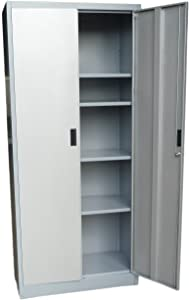 "Fedmax Metal Storage Cabinet 71"" Tall, Lockable Doors and Adjustable Shelves, 70.86"" Tall x 31.5"" W x 15.75"" D, Great Steel Locker for Garage, Kitchen Pantry, Office and Laundry Room (Gray)"