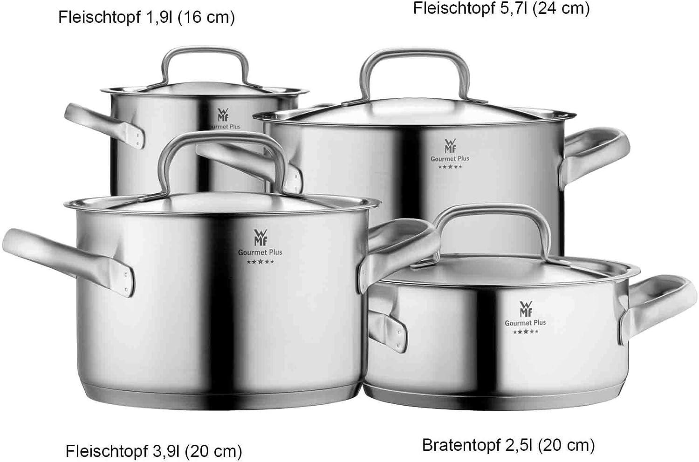 WMF Gourmet Plus Topfset Induktion 12 teilig, Kochtopf Set mit Metalldeckel,  Cromargan Edelstahl mattiert, Töpfe Set unbeschichtet, Innenskalierung