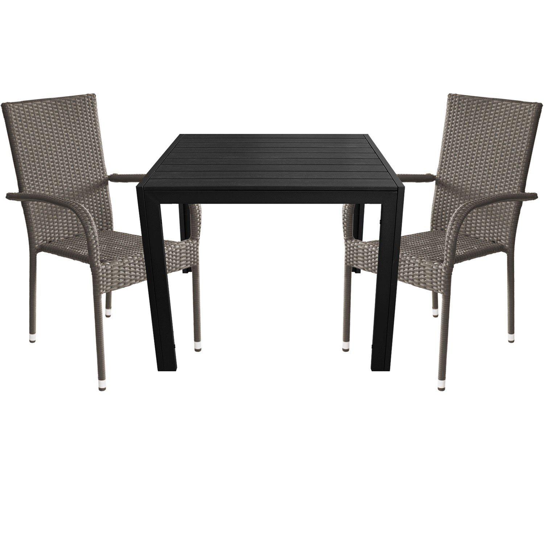 3tlg. Gartengarnitur Aluminium Gartentisch 90x90cm mit Polywood Tischplatte Polyrattan Stapelstuhl grau-meliert
