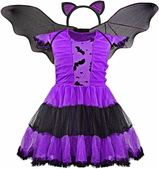 FEESHOW Niñas Disfraz De Hada púrpura Murciélago Vampiro Niño ...