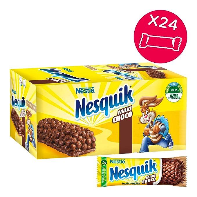 7 opinioni per Nesquik Cereali Maxichoco Barrette di Cereali al Cioccolato e al Latte, 24 Pezzi
