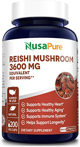 Reishi Mushroom Extract 3600mg 200 Veggie Caps Non-GMO Gluten Free Promotes Heart Health – Helps Balance Blood Pressure Hormones