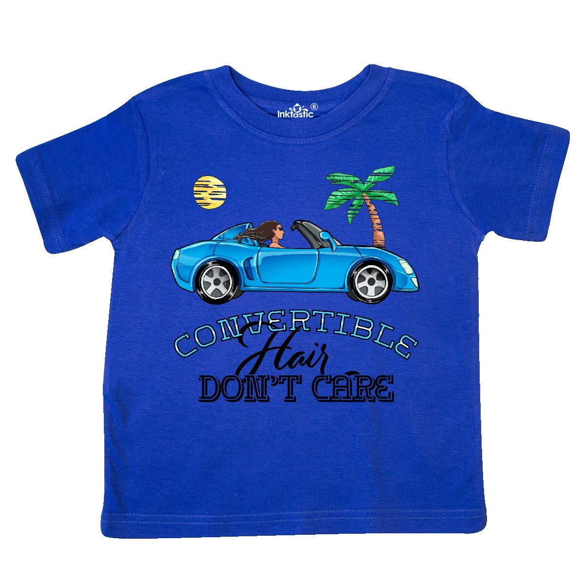 inktastic Convertible Hair Dont Care with Brown Hair and Blue Toddler T-Shirt