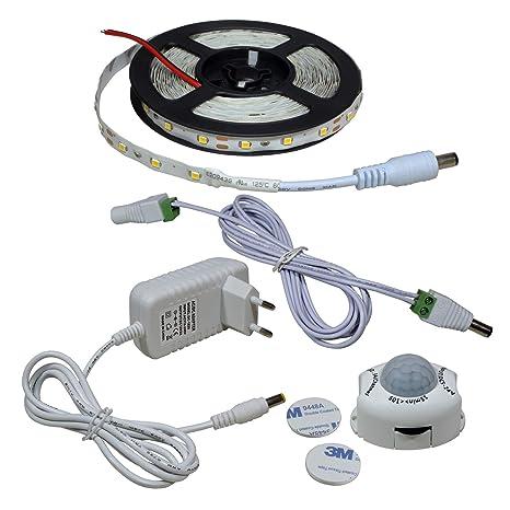 STBTECH Lámpara LED para gabinete Luz de movimiento activada Luz de cama 5m SMD 2835 Tira
