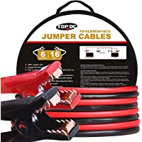 TOPDC 100% Copper Battery Jumper Cables 6 Gauge 16 Feet 450AMP Heavy Duty Booster Cables with Carry Bag and Safety Gloves (6AWG x 16Ft)