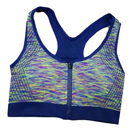 Etecredpow Women s Gym Push-up Racerback Zip Front Yoga No Underwire  Athletic Bras Blue M