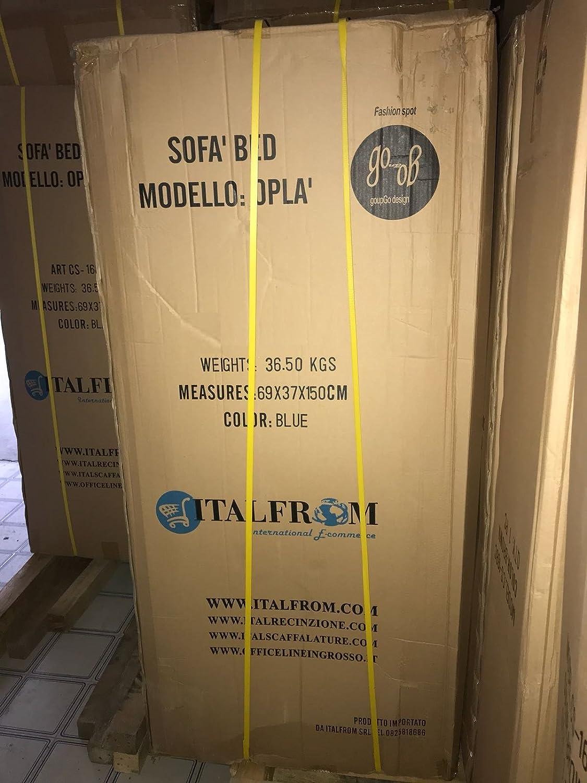 ITALFROM Divano Letto Sof/à Bed Verde Divani 155x69x83h Divanetti Divano Letto 2 Piazze cod.4033