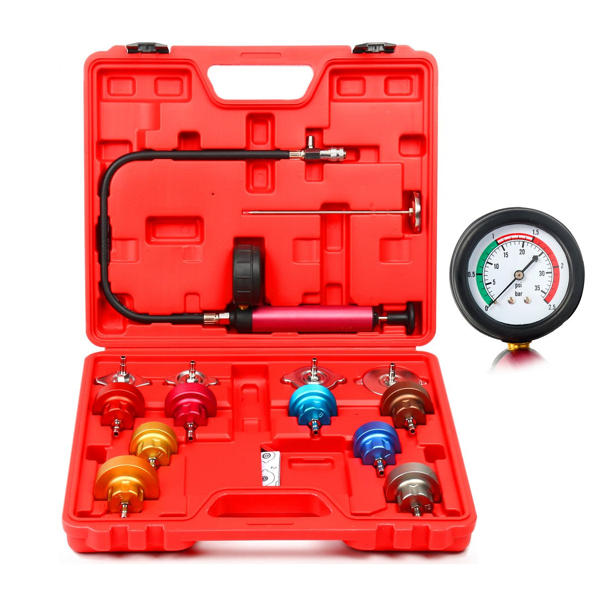 8MILELAKE 14pc Radiator Pump Pressure Leak Tester Kit Vacuum Pressure Cooling System Tester by 8MILELAKE (Image #9)