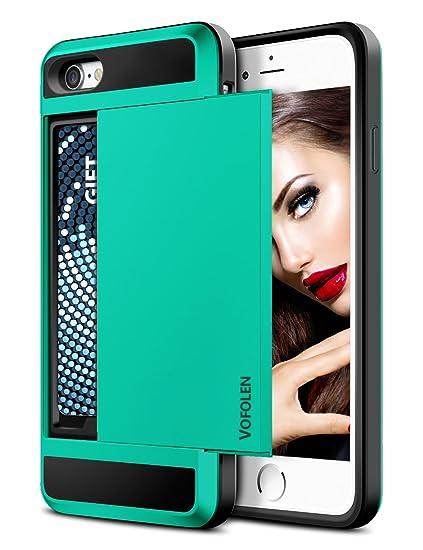 new styles b175c fe5cc iPhone 7 Case, Vofolen Sliding Card Holder iPhone 7 Wallet Case Cover  Secret ID Slot Rugged Protective Hard Shell Skin Flexible Soft TPU Rubber  Hybrid ...