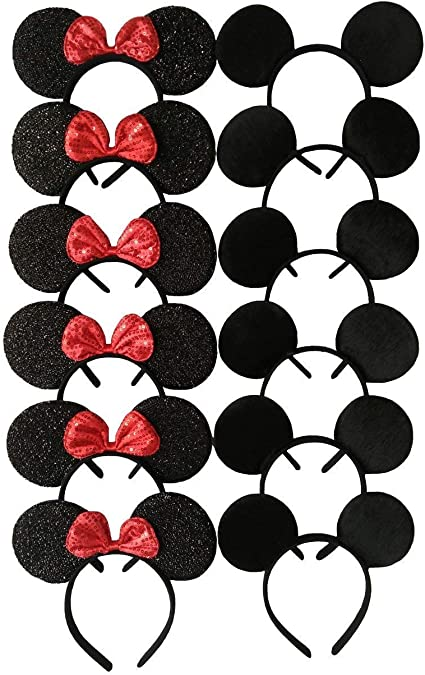 12 Mickey Mouse Ears Minnie Headbands Black Birthday Party Supplies Favors