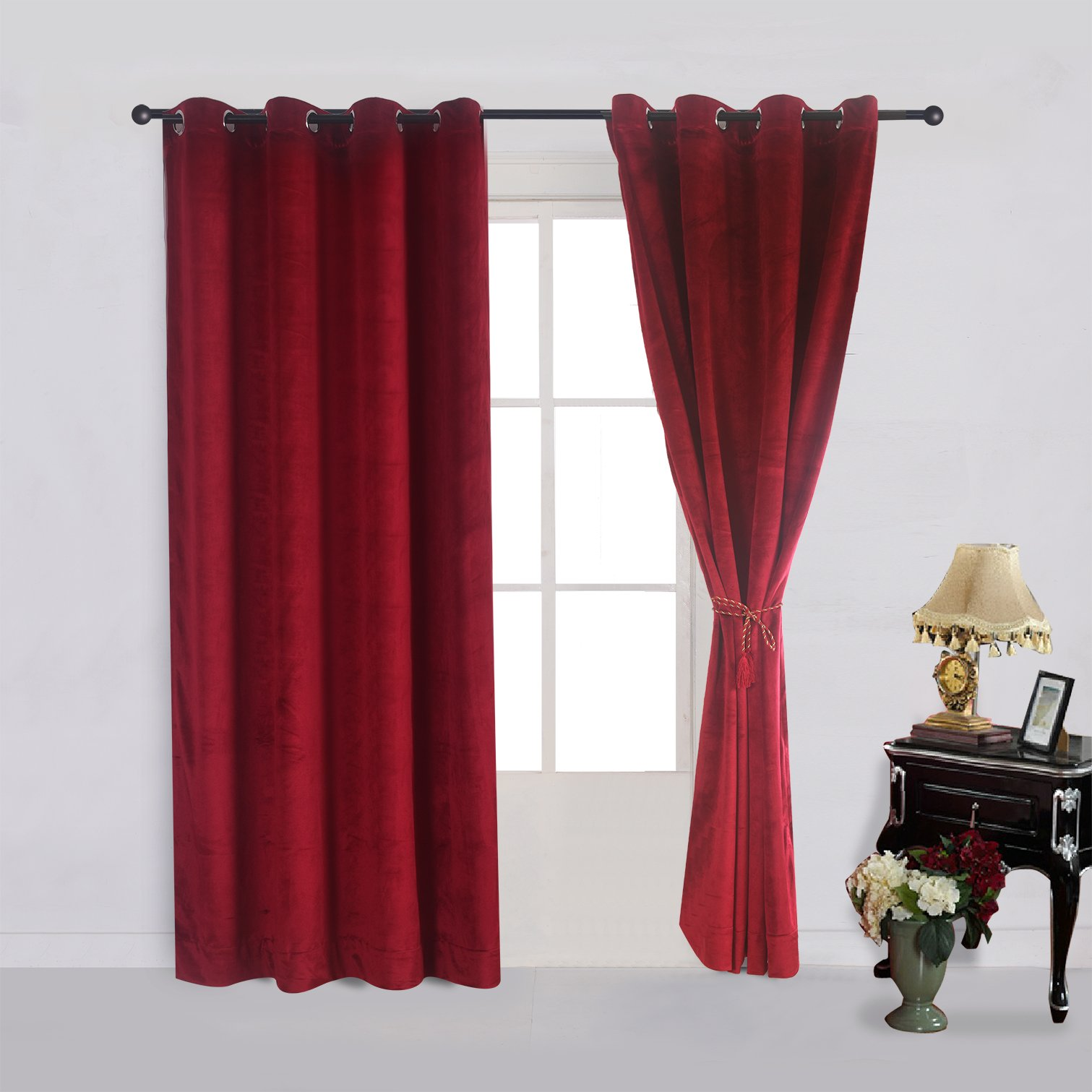 Cherry Home Set of 2 Classic Blackout Velvet Curtains Panels Home Theater Grommet Drapes Eyelet 52Wx63L-inch Red(2 panels)Theater  Bedroom  Living Room  Hotel by Cherry Home (Image #3)