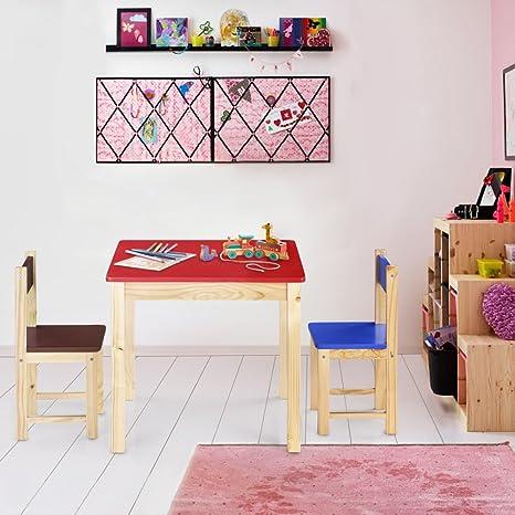 Set di tavolo e 2 sedie per bambini in legno, mobili per cameretta ...