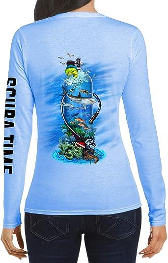 Women UPF 50 Long Sleeve Microfiber Performance Fishing Scuba Tank