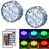 Submersible LED Lights LEDGLE LED Waterproof Multi Color Light RGB Changing Decorated Lighting Battery Operated Lamps with Re