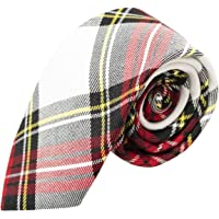 Traditional White & Red Tartan Necktie, Check, Plaid