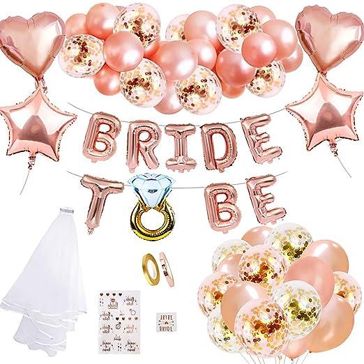 MMTX Hen party decoración para bodas fajín de novia velo bodas bandera Confetti Oro rosa globos,Estrella Corazón globos papel aluminio placa Tatuajes ...