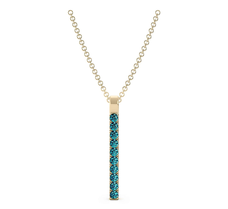 Frostrox 14K Gold 0.15 Carat Round Cut Classic Ten Stone Bar Diamond Pendant